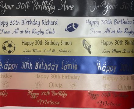 30th Birthday Personalised Ribbon